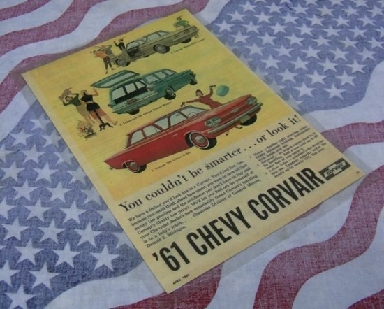"""1961 Chevy Corvair"" laminated poster,#RMP13"