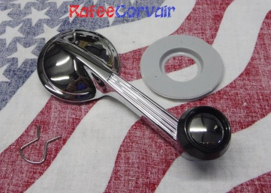 1960-61 window handle, chrome, #RIA43