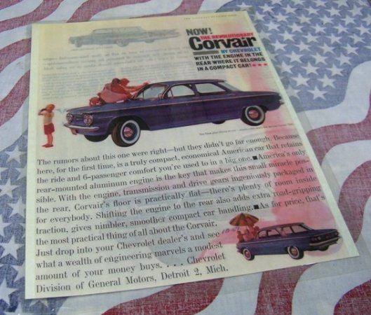 """Revolutionary Corvair "" blue car, laminated poster,#RMP16"