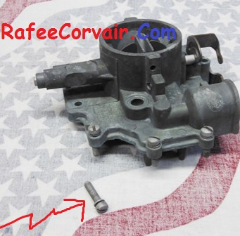 1960-69 carb. top cover short screw, used, #RFS153